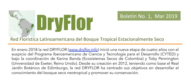 Boletín No. 01 de La Red Florística Latinoamericana del Bosque Tropical Estacionalmente Seco (Dryflor)